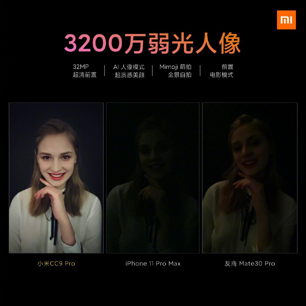 Xiaomi CC9 Pro kamera összehasonlítás