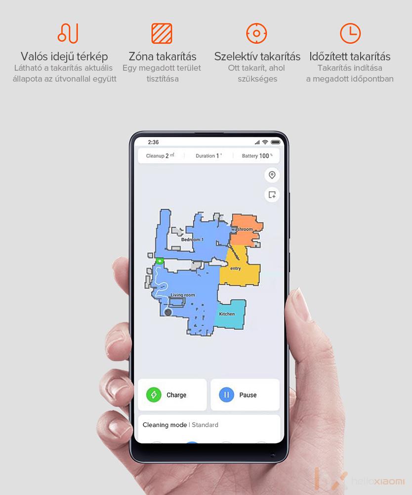 Xiaomi robotporszívó vezérlése az MI Home appon belül