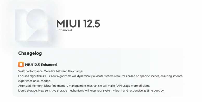 MIUI 12.5 Enhanced Changelog